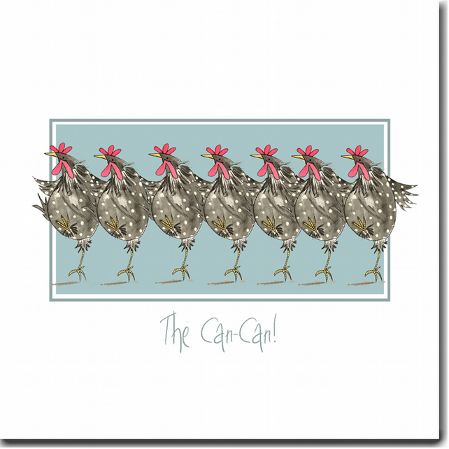 Fun Chicken Card - The Can Can - Blank inside, Birthday, Friend