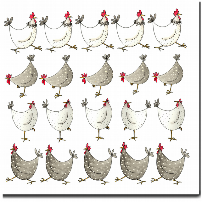 Fun Chicken Card - Multi Chickens - Blank inside, Birthday Card