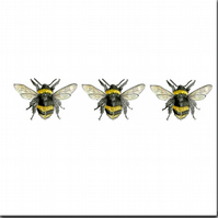 Bumble Bees Greeting Card, Blank Inside, Animal Birthday, 'Three in a row'