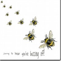 Bee New Job Card, Leaving Card, Good Luck Card, 'Buzzing Off'