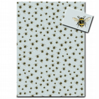 Bumble Bee Wrapping Paper - Single Sheet with Matching Tag