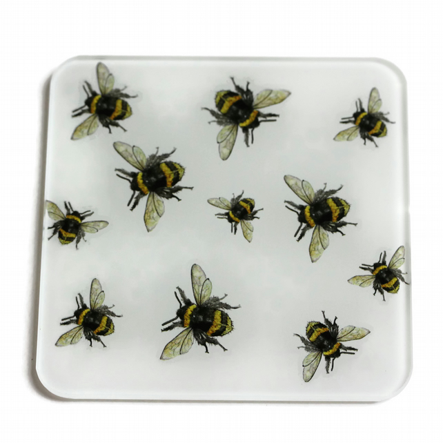 Multi Bee Glass Coaster