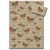 Robin Wrapping Paper, Bird Gift Wrap, Recycled, Made in the UK