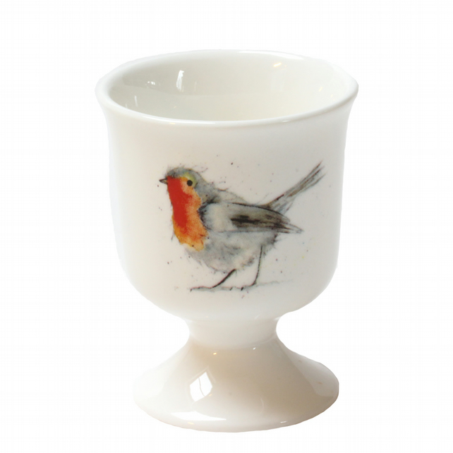 Christmas Egg Cup - Robin - Fine Bone China