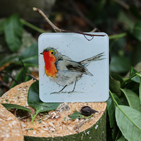 Robin Coaster, Recycled Glass, Christmas Gift, Stocking Filler, Watercolour