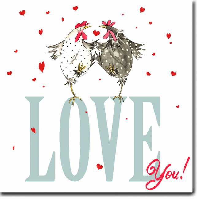 Chicken Valentine's Day Card - Love You!