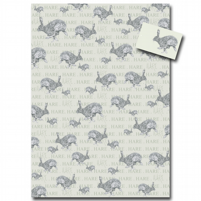 Hare Wrapping Paper - Single Sheet with Matching Tag