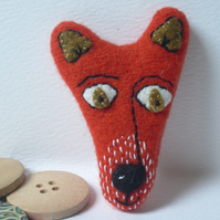 Orange Fox Brooch - Wool with hand stitched detail