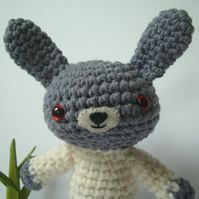 Cute Bunny Rabbit - Amigurumi Crochet, Cream & Grey