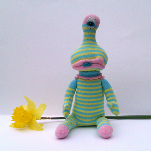 One Eyed Sock Monster Alien - turquoise and yellow stripes
