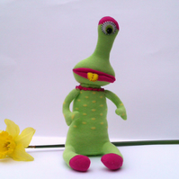 One Eyed Sock Monster Alien - lime green with yellow spots