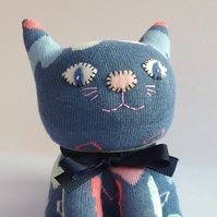 Sock Cat - petrol blue with hearts