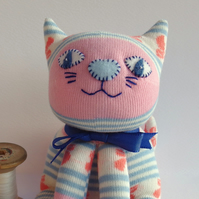Sock Cat - cream with stripes and bows