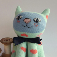 Sock Cat - pale mint green with hearts