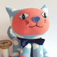Sock Cat - pale blue and salmon pink with white spots