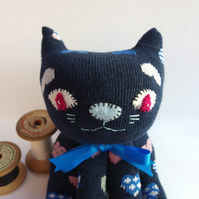 Sock Cat - navy blue with hearts