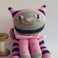 Sock Cat - pink and grey with navy blue stripes