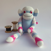 Mini Sock Monkey - Pale Pink, Blue and Cream