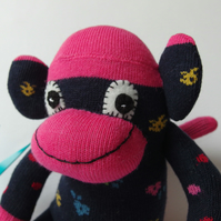 Mini Sock Monkey - Navy Blue and pink with coloured dots