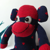 Mini Sock Monkey - Navy Blue with Red Hearts