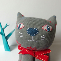 Sock Cat - Grey with red and blue flowers