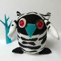 Sock Owl - Black and White zebra print