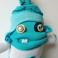 Silly Sock Man - Turquoise and White stripes