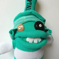 Silly Sock Man - Mint Green and White stripes