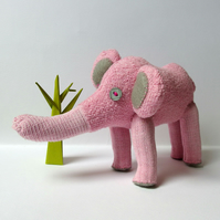 Sock Elephant - pink and grey