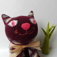 Sock Cat - Cranberry with peach and grey flowers