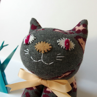 Sock Cat - Grey with peach and burgundy flowers