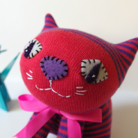 Sock Cat - Pink and Purple stripes