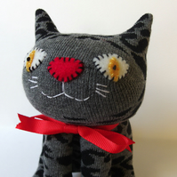 Sock Cat - Grey with black squiggles