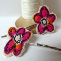 Flower Hair Pins - Pink & Orange Fabric, freemotion sewing