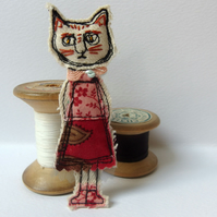 Cat Girl Brooch - freemotion sewn fabric