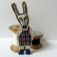 Donkey Boy brooch - fabric with freemotion sewing