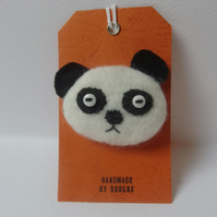 Textile Panda Brooch - Black and White
