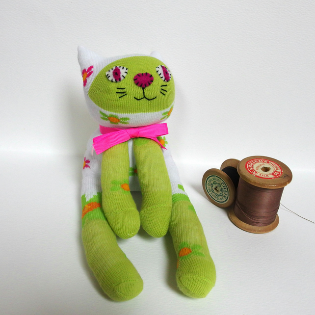 Sock Cat - white, lime green with flowers