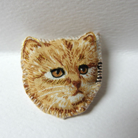 Ginger Cat Brooch - textile
