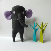 Elephant Softie - grey and lilac fleece
