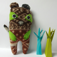 Bear Softie - brown, grey and lime green