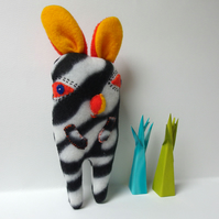 Bunny Zebra Softie - black, white, orange and yellow fleece