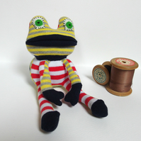 Sock Frog - red and white stripes