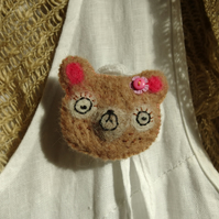 Bear Brooch - needlefelted