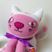 Sock Cat - white and pink with flowers