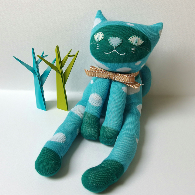 Sock Cat - turquoise and green with white spots