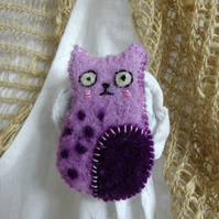 Purple Cat Brooch - needlefelted