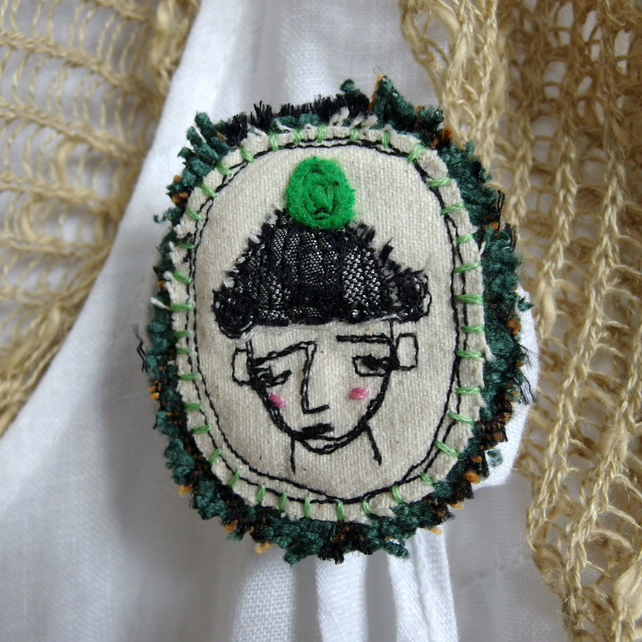 Boy in a Green Bobble Hat Textile Brooch - freemotion embroidery
