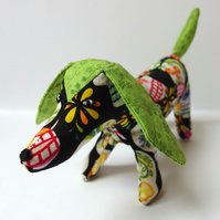 Fabric Dog ornament - Henry Alexander mini calaveras fabric