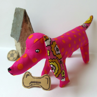 Fabric Dog ornament - Hot Pink with Orange spots